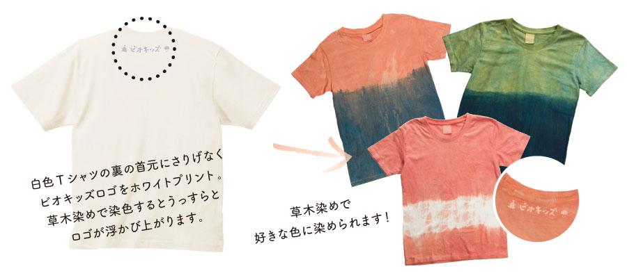 白色Tシャツの裏の首元にさりげなくビオキッズロゴをホワイトプリント。草木染めで染色するとうっすらとロゴが浮かび上がります。